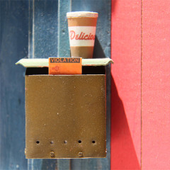 Delicious Violation (Detail: mail box, coffee cup, and parking ticket)